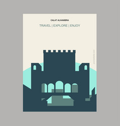 Calat alhambra andalusia spain vintage style vector
