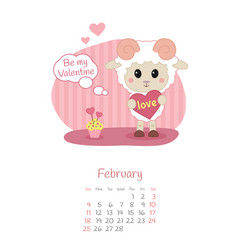 Calendar 2018 months february with sheep vector
