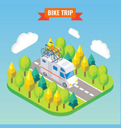 camper van with bicycle on a rotravel and vector image