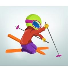 Cartoon Alien Skiing vector