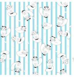 cartoon cats on stripes background vector image