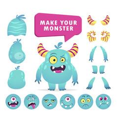 cartoon monster creation kit cute face set vector image
