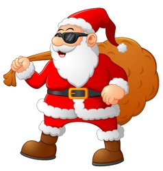 Cartoon santa holding sack vector