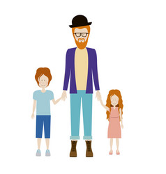 Color silhouette with kids and dad with beard and vector