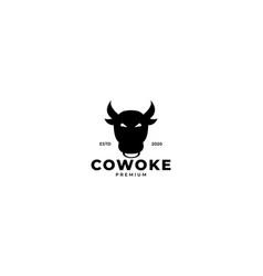 Cow or bull face head logo design icon silhouette vector