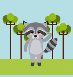 Cute animal over landscape vector