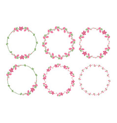 cute flat style minimal pink flower wreath frame vector image