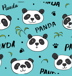 Cute panda bear seamless pattern animals vector