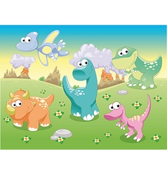 Dinosaurs Family with background vector