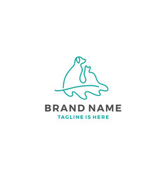 Dog cat oak leaf logo template icon vector