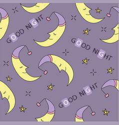 Doodle good night seamless pattern stars moon vector