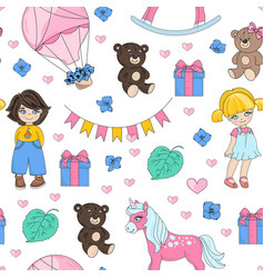 dream party valentines seamless pattern vector image
