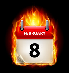 Eighth february in calendar burning icon on black vector