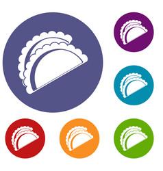 Empanadas de pollo icons set vector