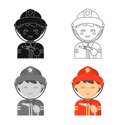 fireman icon cartoon single silhouette fire vector image