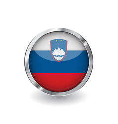 Flag of slovenia button with metal frame and vector