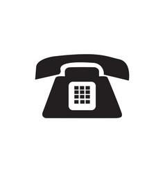 Flat black telephone icon vector