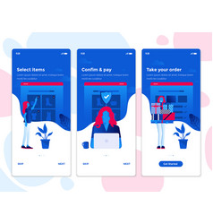 Flat design oneboarding concepts - e-commerce app vector