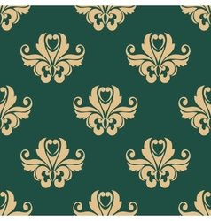 Floral seamless pattern with beige on dark green vector image