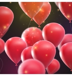 Flying holiday balloons with shiny sparkles vector
