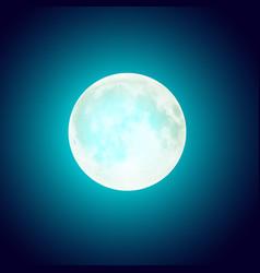 Full moon over blue night sky background vector
