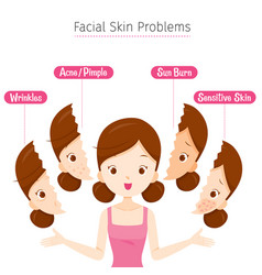 Girl with facial skin problems vector