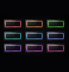 glossy buttons set colorful halogen lamp banners vector image