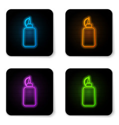 glowing neon mustard bottle icon isolated on vector image