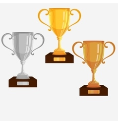 Gold Silver Bronze trophy cup vector