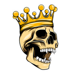 golden king skull with crown on top vector image