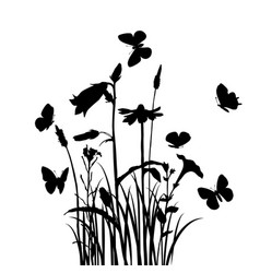 Grass flowers and butterflies vector