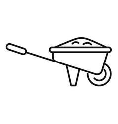 Ground wheelbarrow icon outline style vector