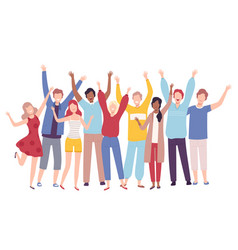 group people standing together with raising vector image