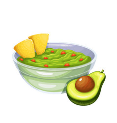 Guacamole sliced avocado and tortilla chips vector