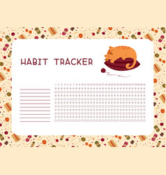 Habit tracker for month flat template knitting vector