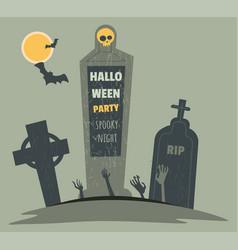 Halloween party october 31 graveyard cemetery vector