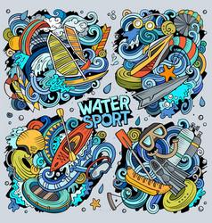 hand drawn doodles cartoon set water vector image