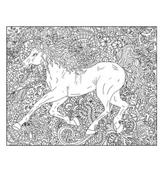 hand drawn horse against floral pattern vector image