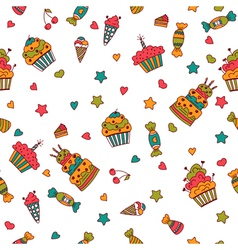 Happy birthday seamless pattern Hand drawn vector image