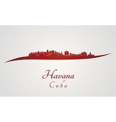 Havana skyline in red vector
