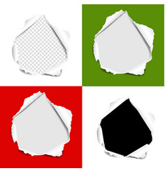 hole torn paper set isolated background vector image
