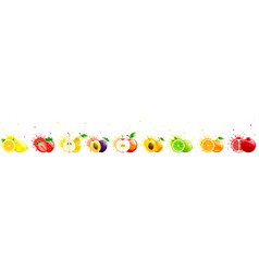 Horizontal banner with bright fruits vector