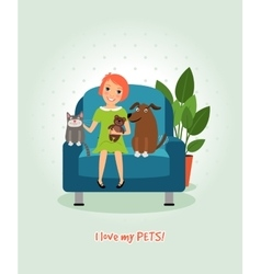 I love my pets Girl on armchair with dog and cat vector