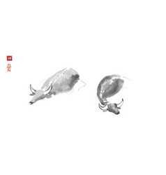 ink wash painting two buffalo bulls in water vector image