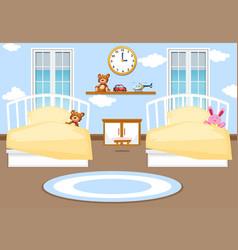 Interior kids bedroom background vector