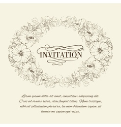 Invitation card with blooming hibiscus vector