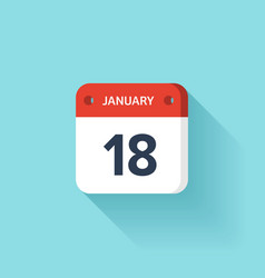 January 18 Isometric Calendar Icon With Shadow vector image