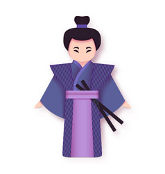 japanese man in kimono traditional clothing vector image