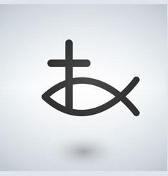 Jesus fish and cross icon vector