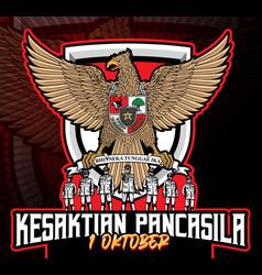 Kesaktian garuda pancasila indonesia 1 october vector